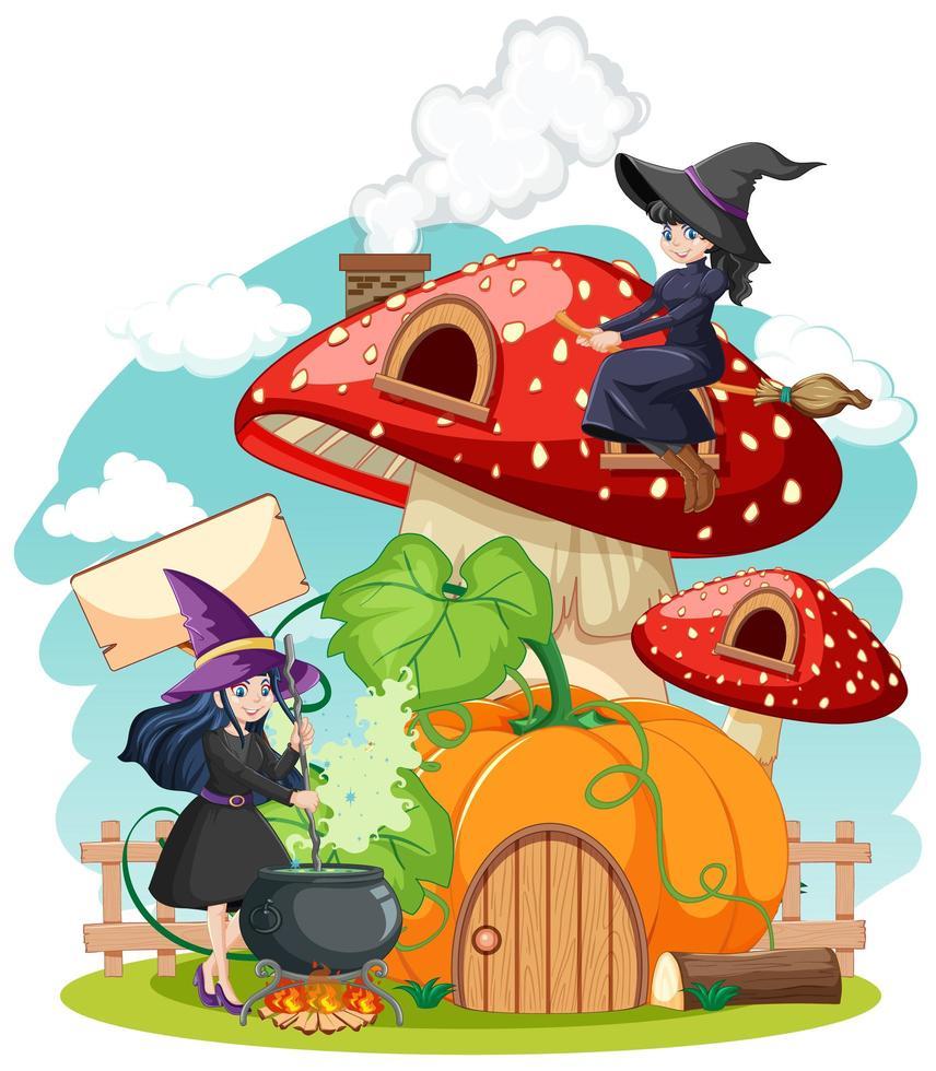 jeunes sorcières avec champignon vecteur