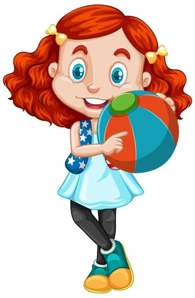 rouge entendu fille tenant un ballon vecteur