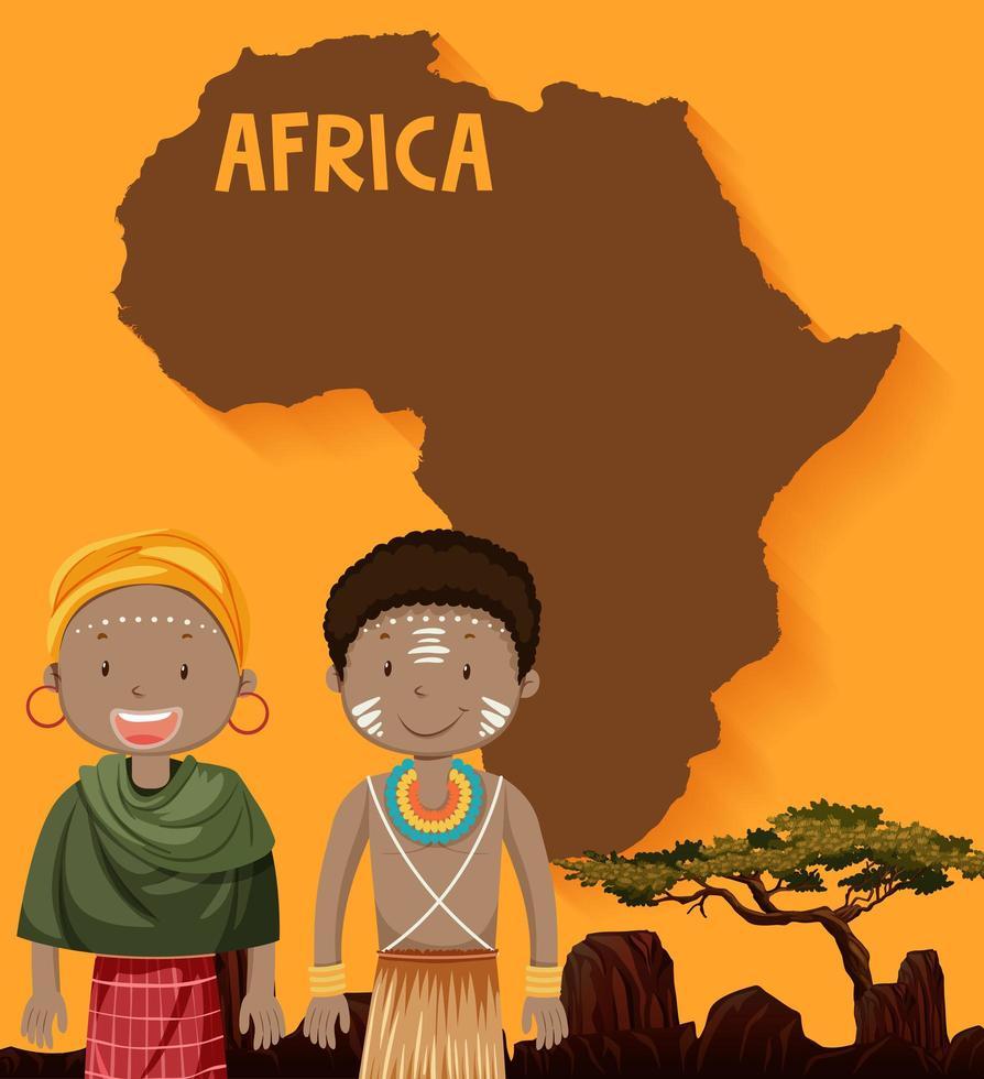 autochtones africains et conception de cartes vecteur