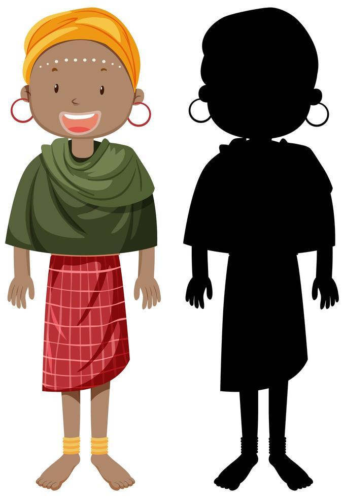 jeu de caractères femme afro-native vecteur
