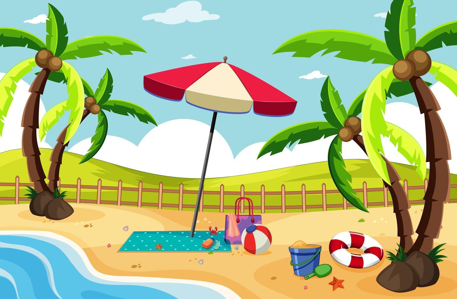 fond de paysage de plage tropicale vecteur