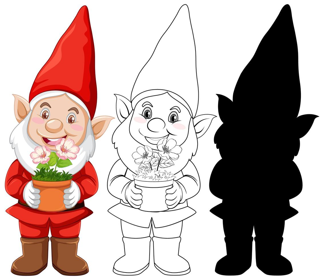 jeu de caractères de gnome rouge vecteur