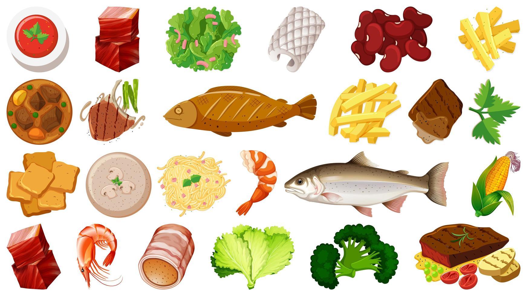 ensemble d & # 39; ingrédients alimentaires frais vecteur
