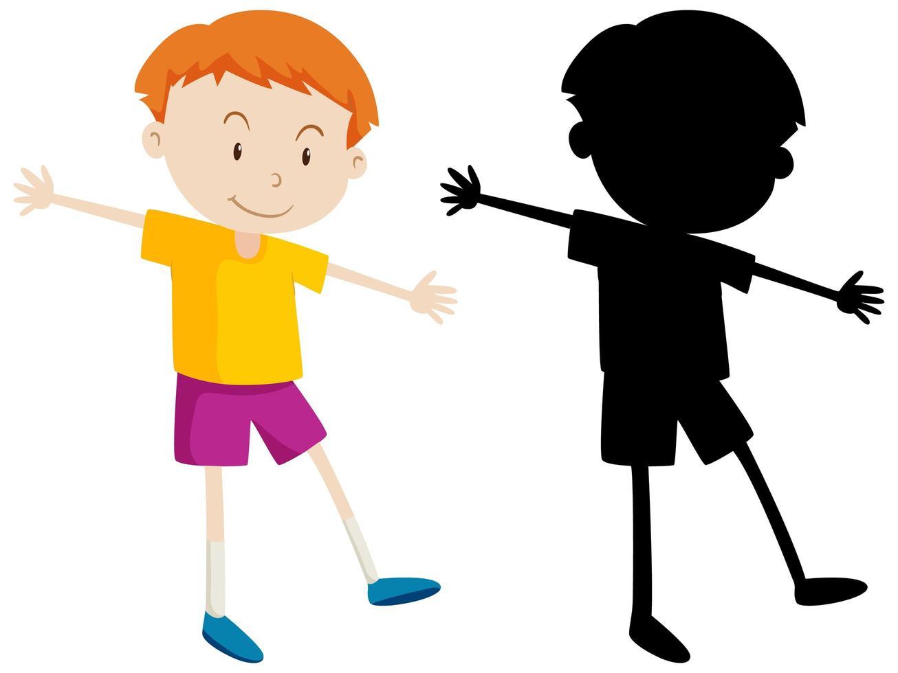 dessin animé, garçon, couleur, et, silhouette, ensemble vecteur