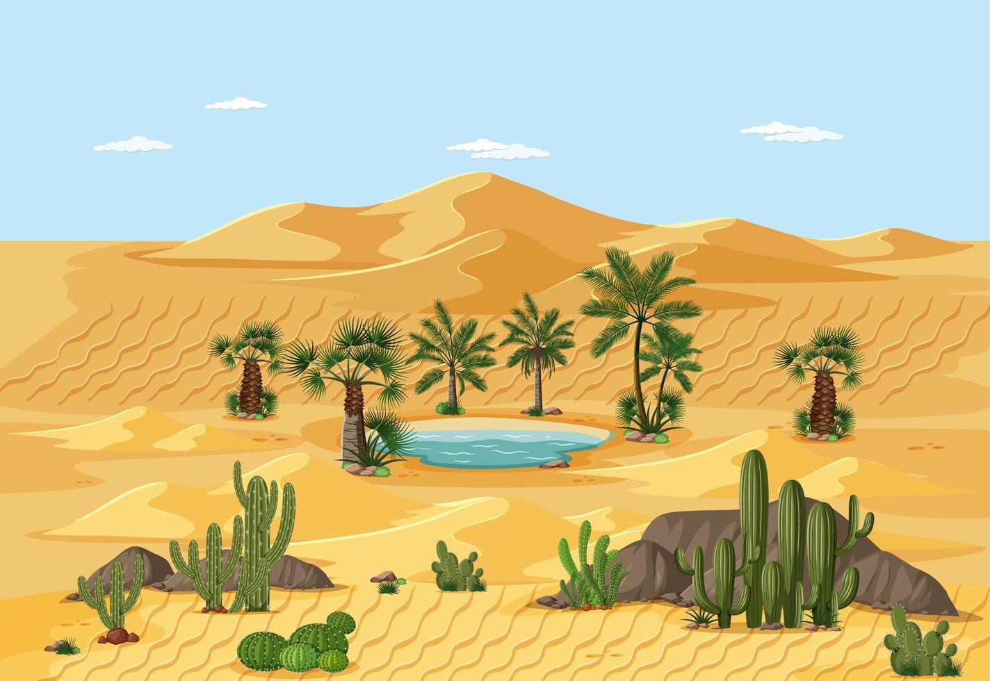 paysage d'oasis du désert vecteur
