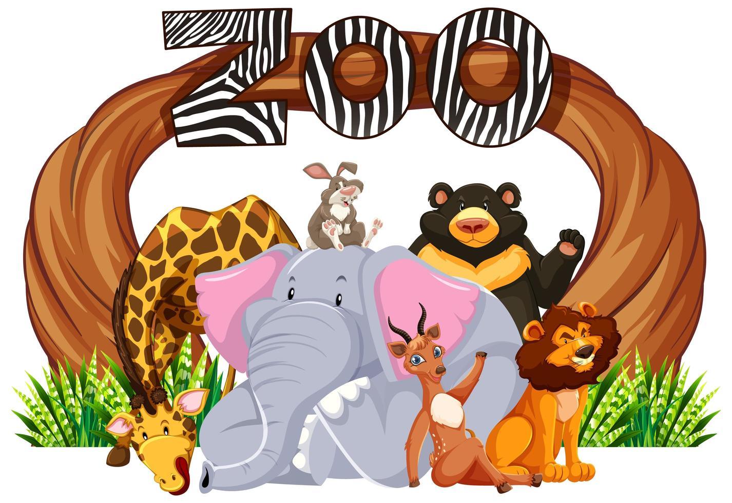 panneau d'entrée du zoo avec des animaux de dessin animé vecteur