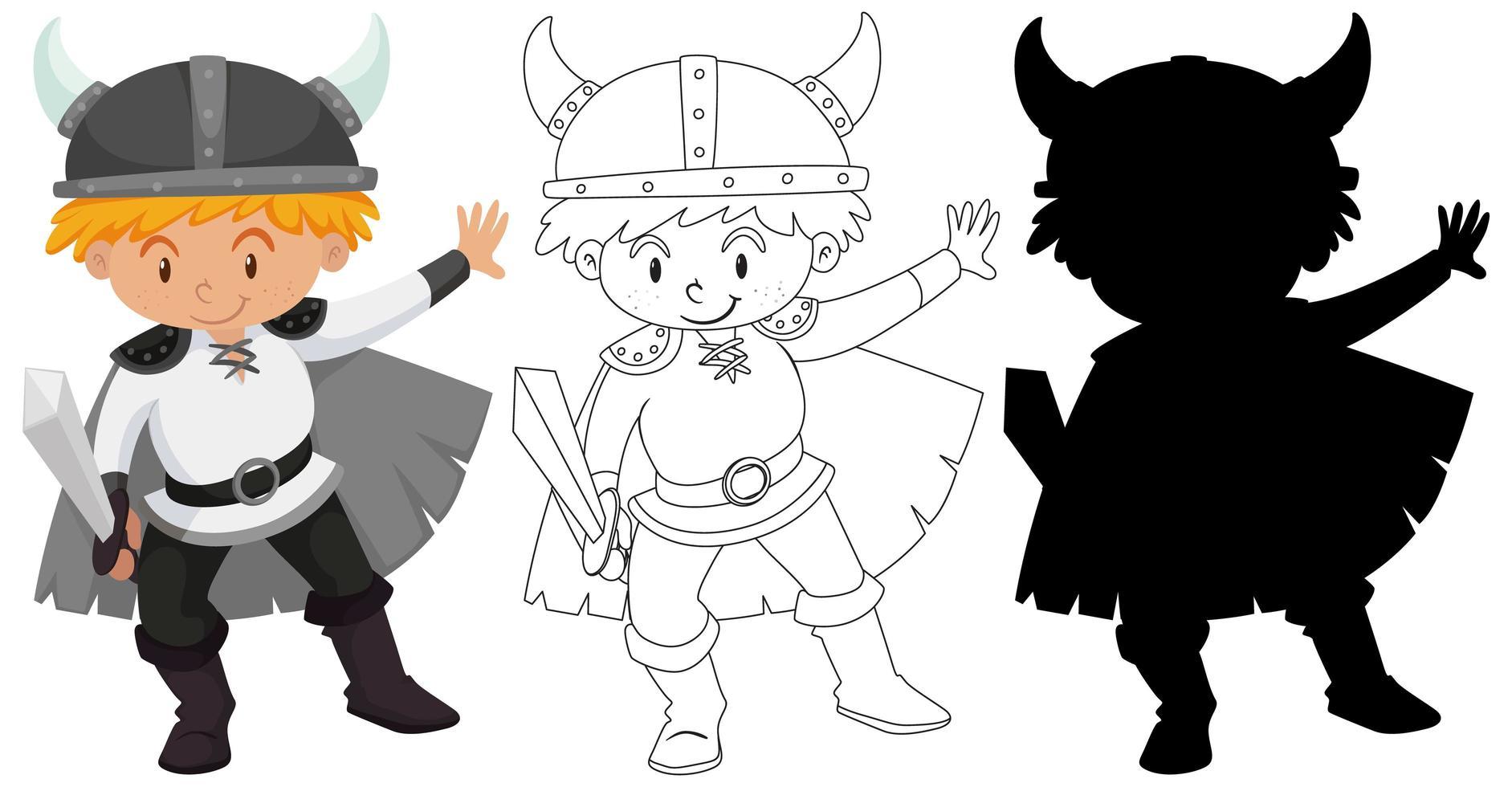 garçon portant un costume de chevalier vecteur