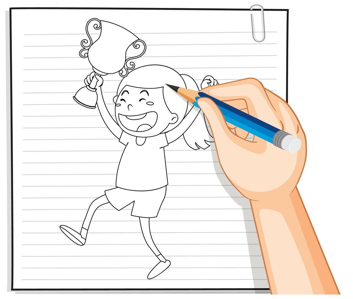 doodle d & # 39; une fille tenant un trophée vecteur