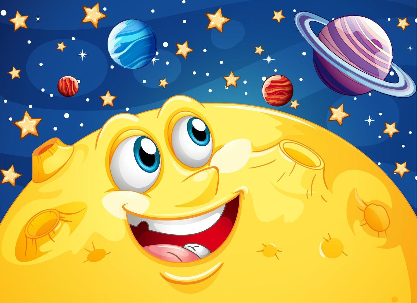 fond de lune et galaxie de dessin animé heureux vecteur