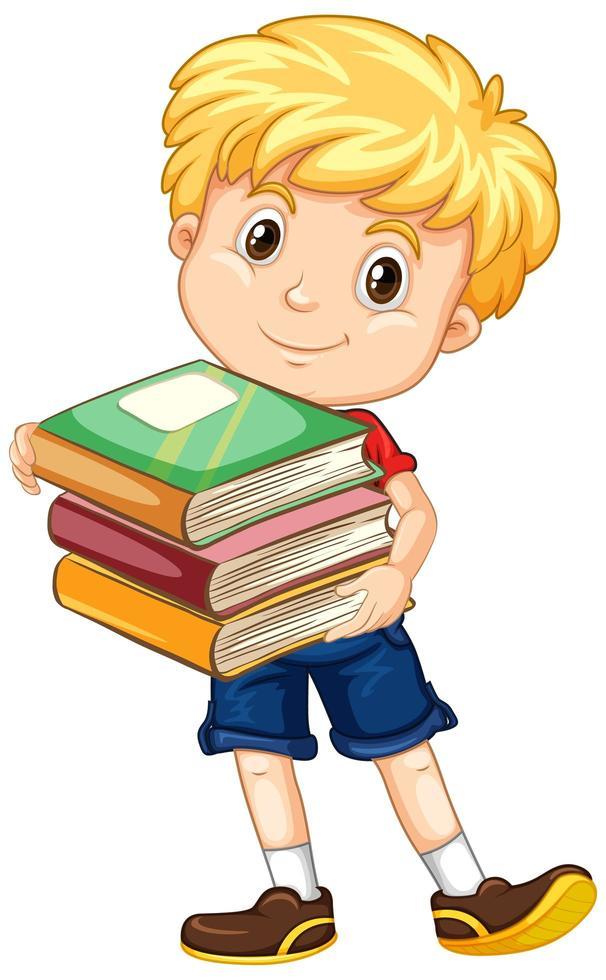 garçon tenant une pile de livres vecteur