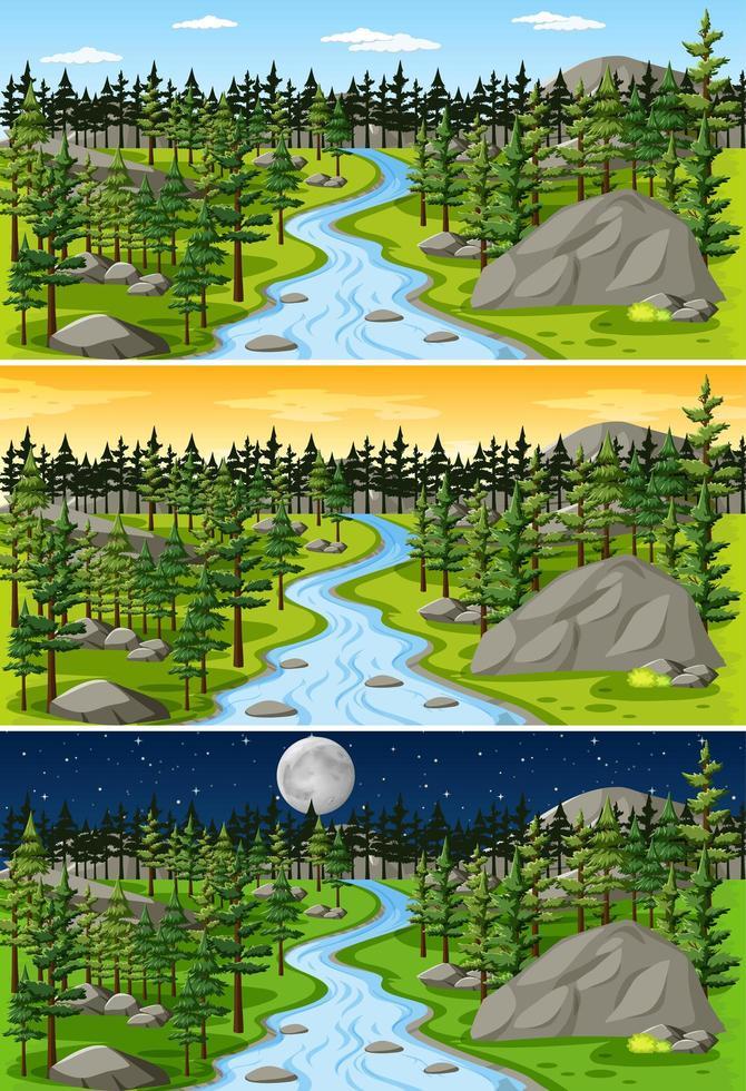 paysage naturel à différents moments de la journée vecteur