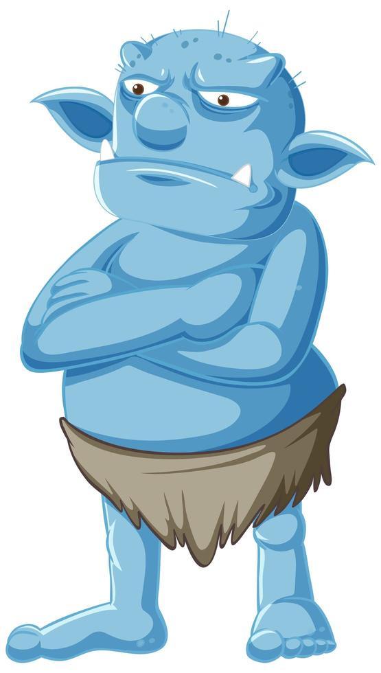 personnage de gobelin grincheux bleu debout vecteur