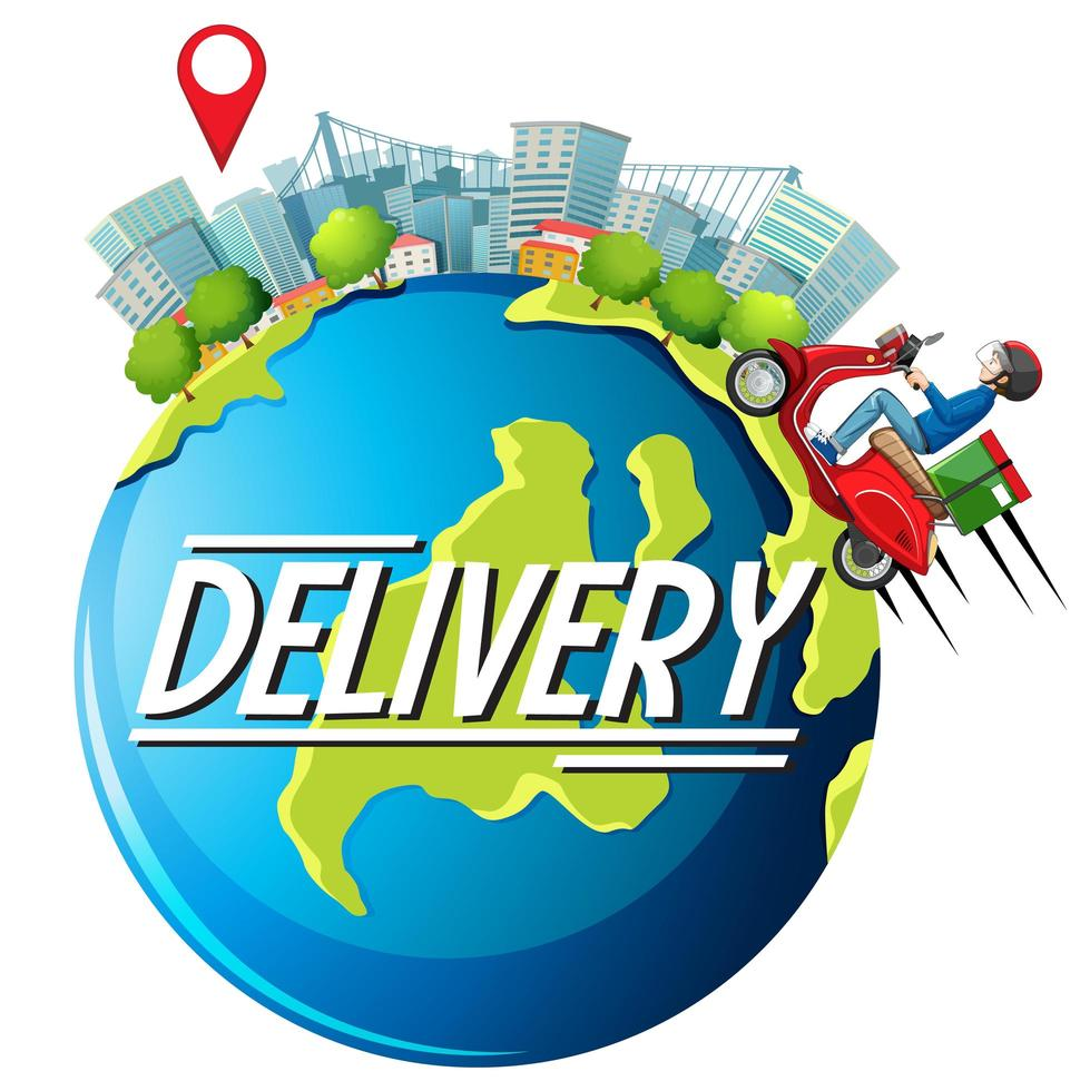 conception de livraison gratuite avec messager vecteur