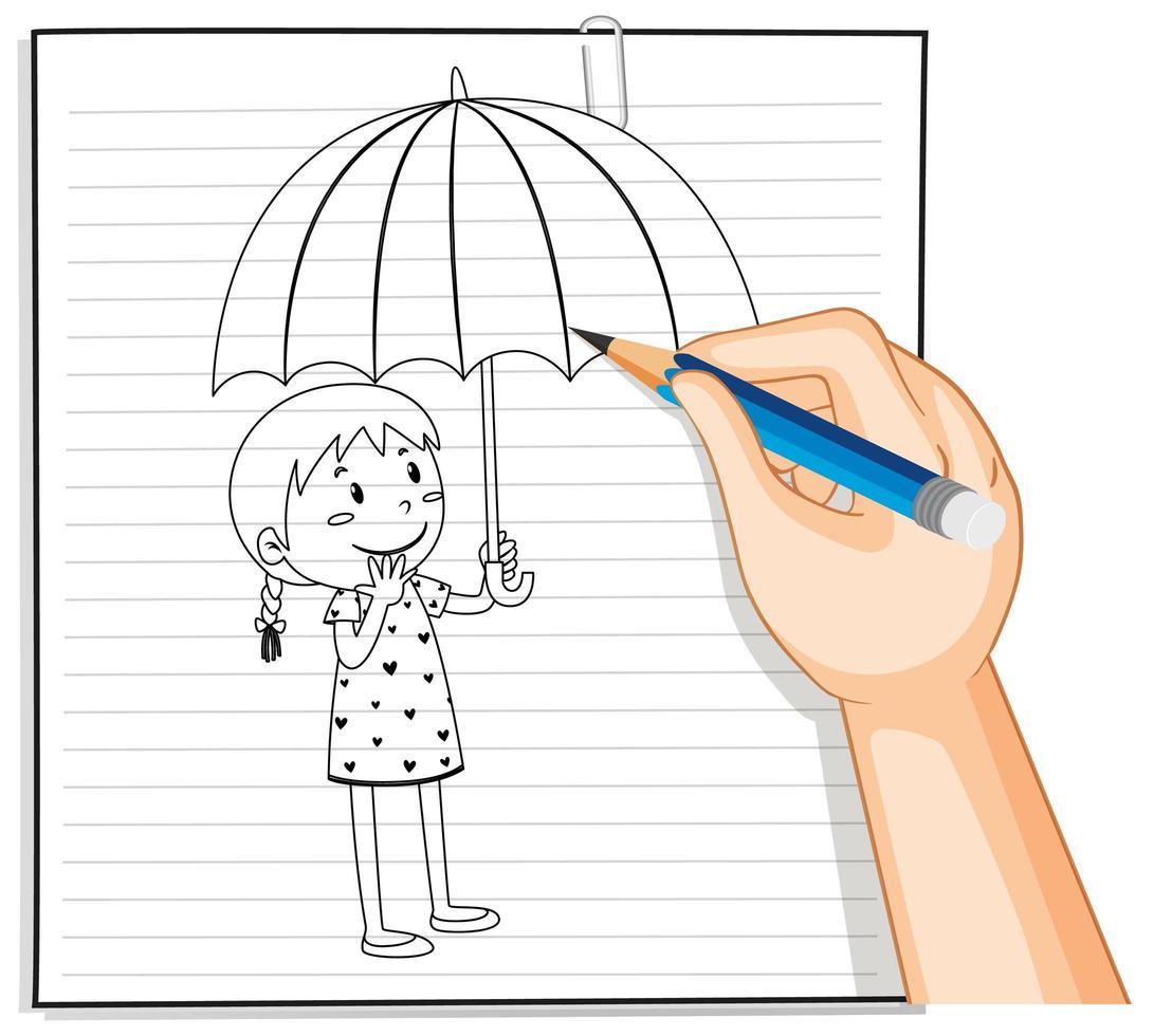 doodle d'une fille tenant un parapluie vecteur