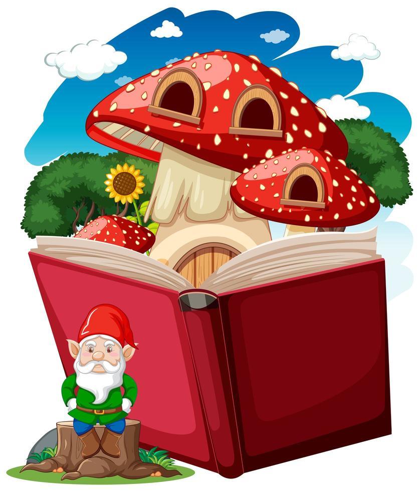 gnome et champignon sur un livre pop vecteur