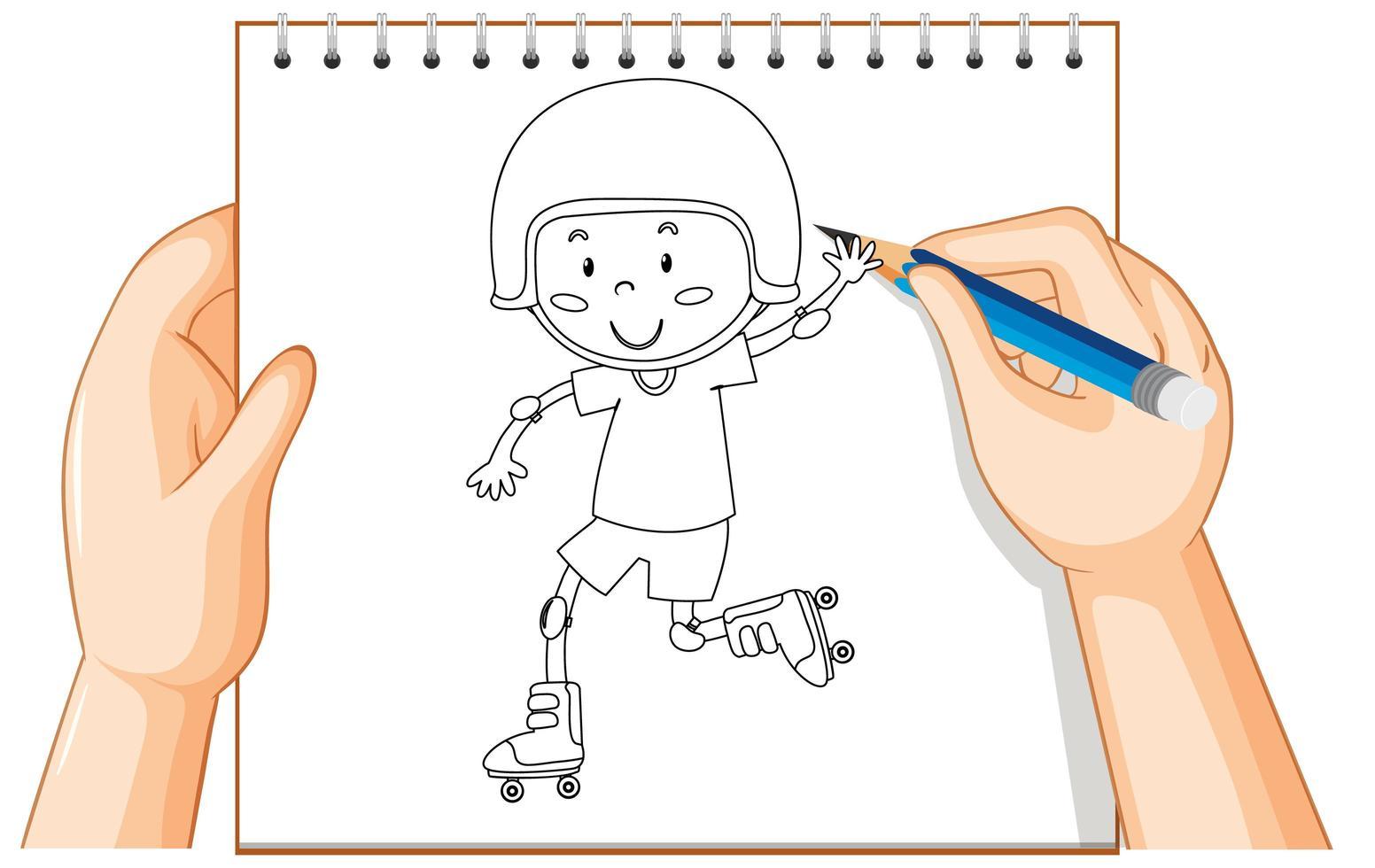 mains dessinant un garçon en patins à roulettes vecteur