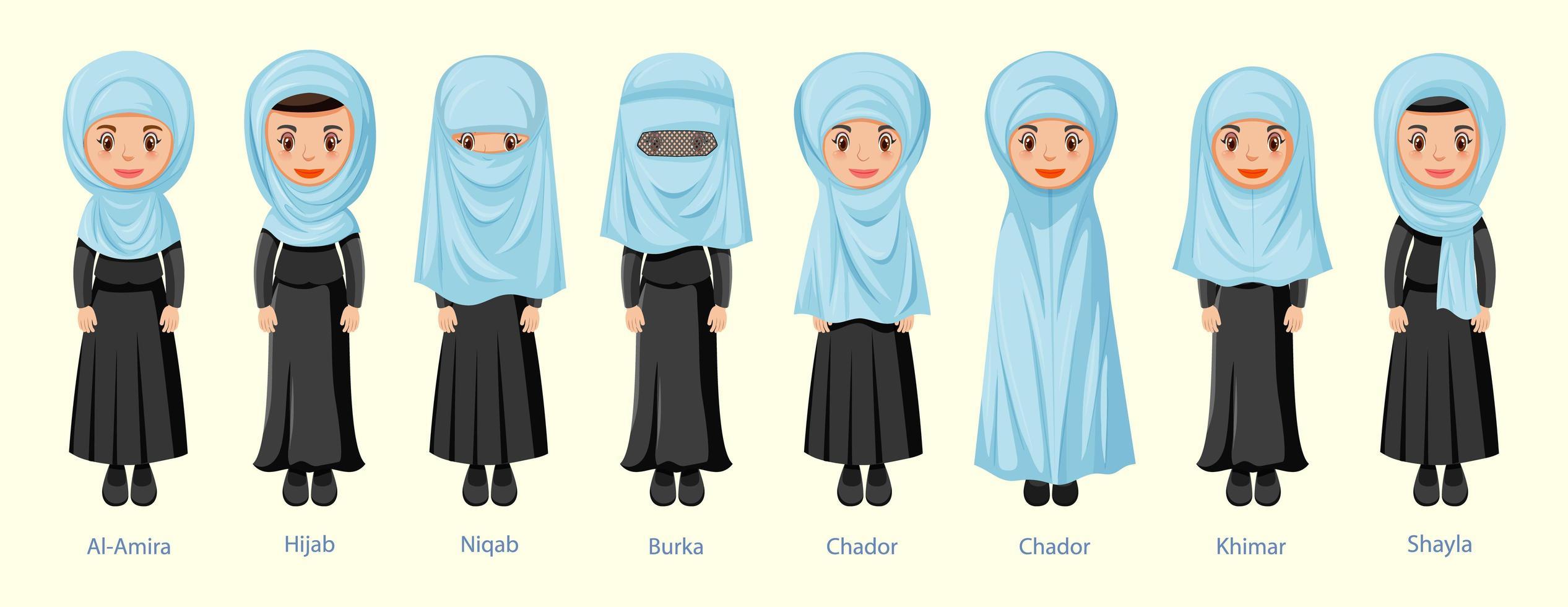 types de voiles traditionnels islamiques pour femmes vecteur