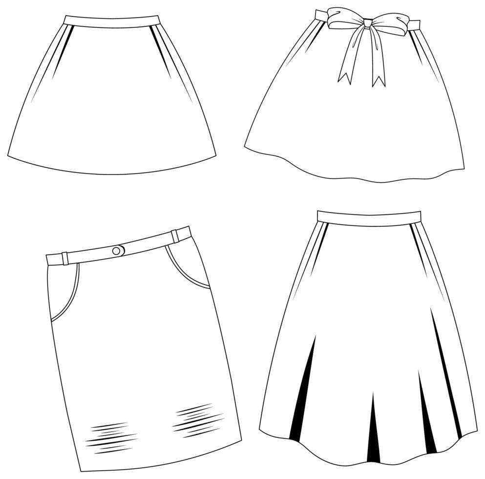 ensemble de contour de jupe vecteur