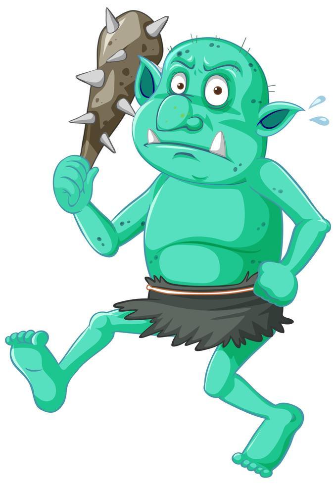 dessin animé gobelin vert avec une arme vecteur