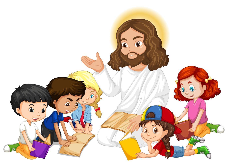 Jésus enseigne à un jeune groupe d'enfants vecteur