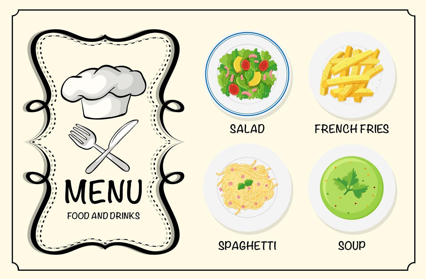 plats différents sur le menu du restaurant vecteur