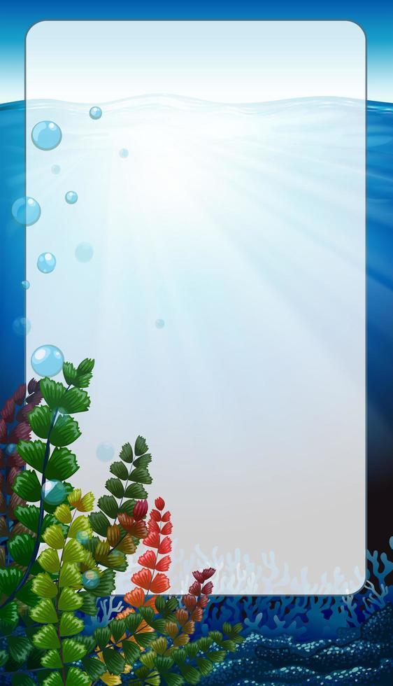 cadre de bordure avec scène sous l & # 39; eau vecteur