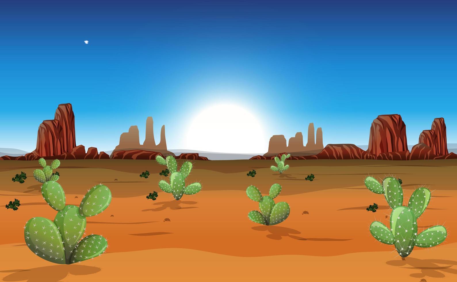 désert avec montagnes rocheuses et paysage de cactus à la scène de jour vecteur