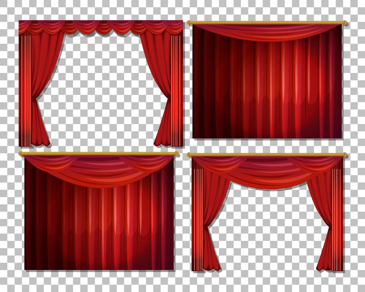 ensemble de rideaux rouges de luxe vecteur