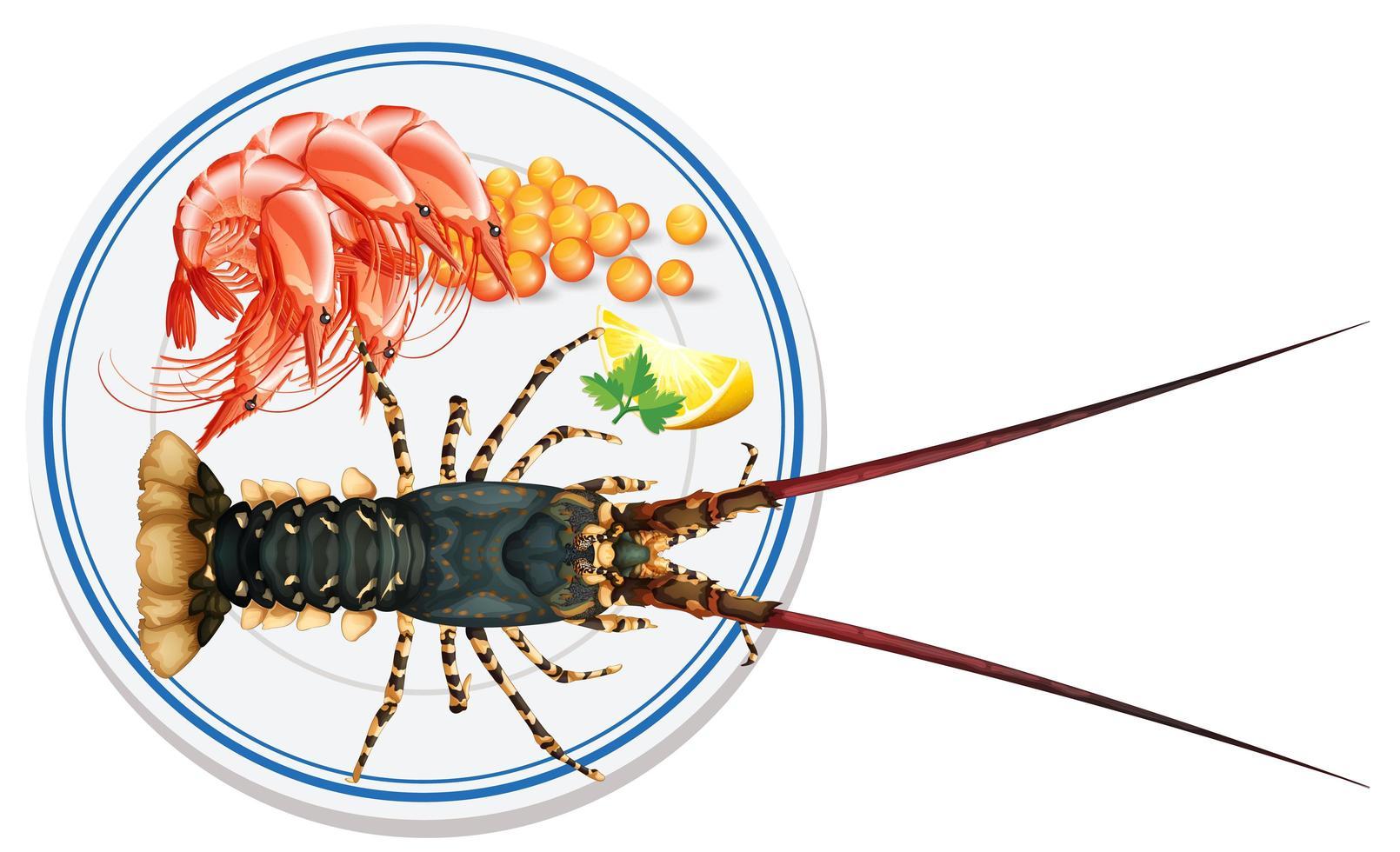 vue de dessus des fruits de mer sur la plaque vecteur