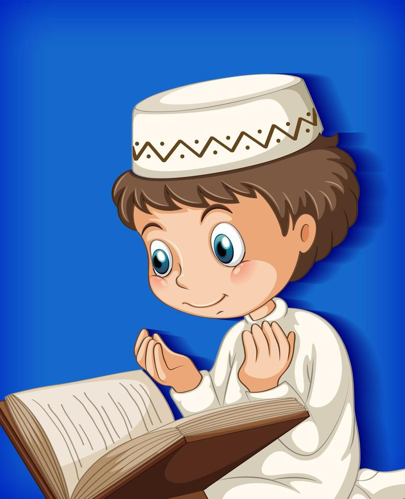 jeune garçon musulman priant vecteur