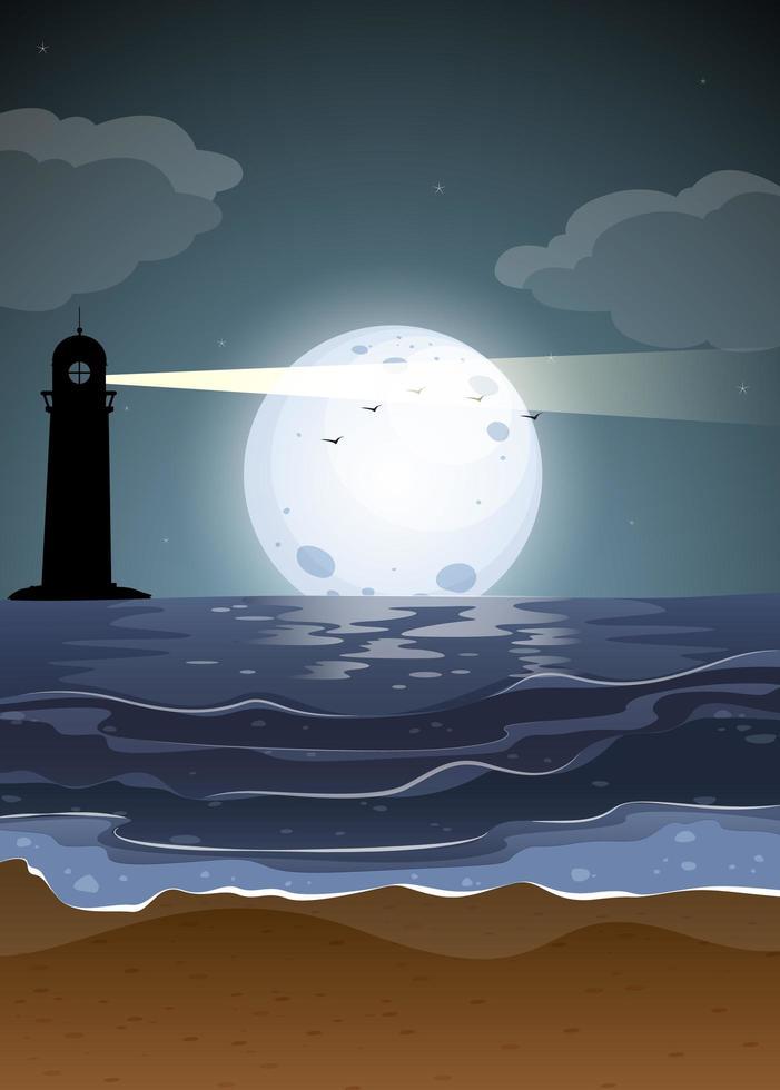 scène de nuit de paysage marin vecteur