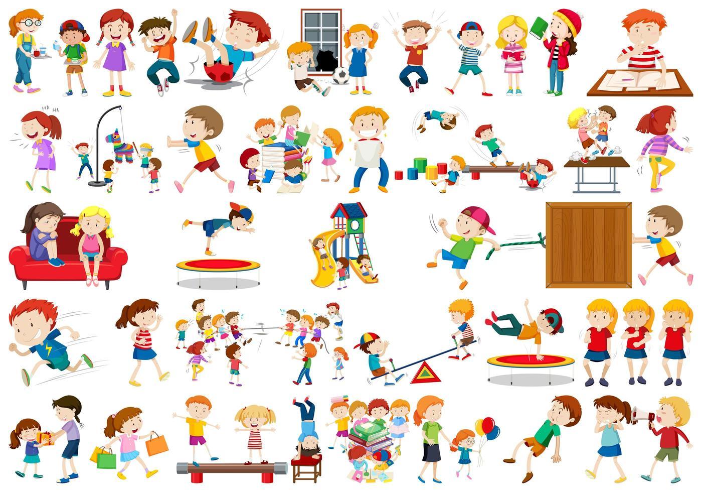 grand ensemble d'enfants de dessins animés différents vecteur