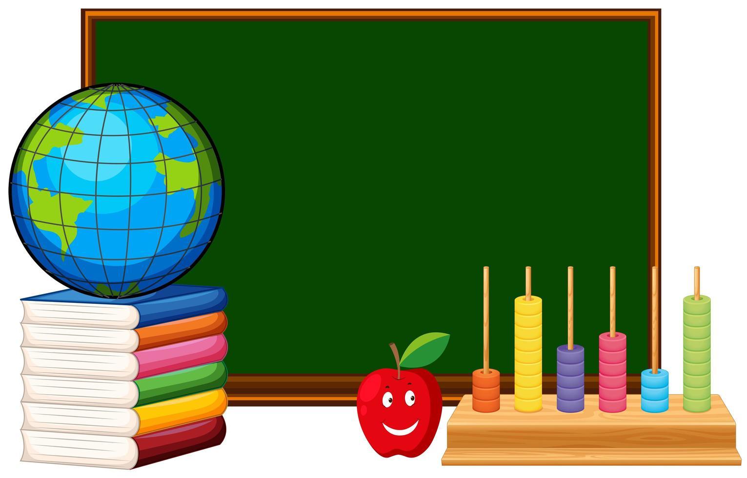 tableau noir avec globe et fond de matériel éducatif vecteur