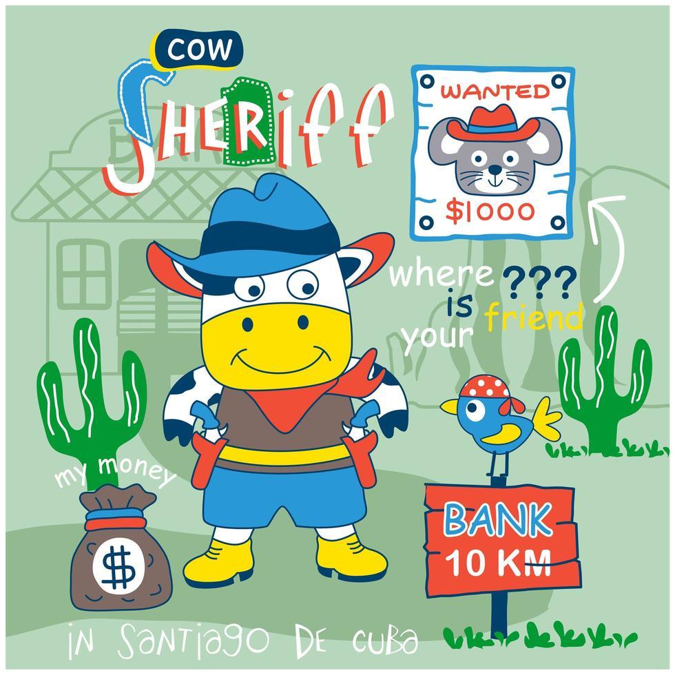 petite conception de shérif de vache vecteur