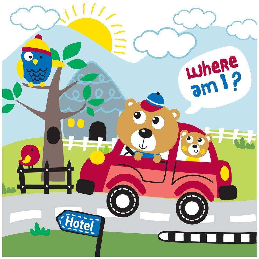ours en famille sur un road trip vecteur