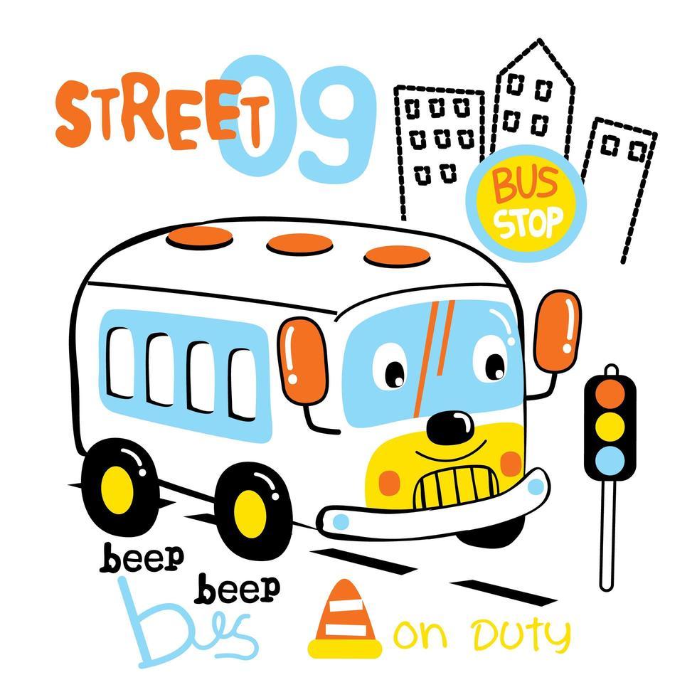 bus de dessin animé sur la route vecteur