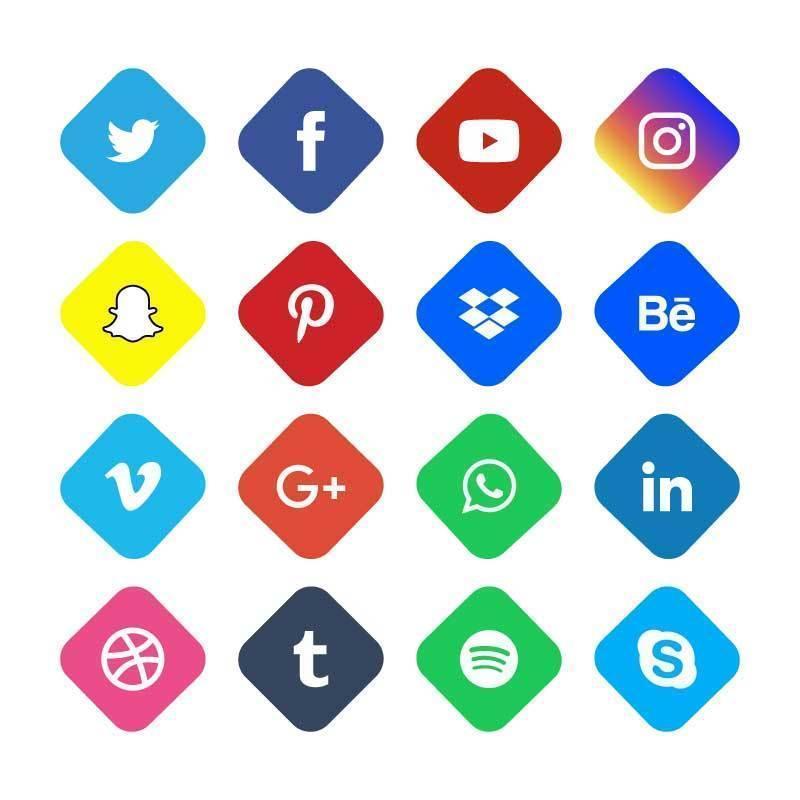 icônes plates rondes de médias sociaux vecteur