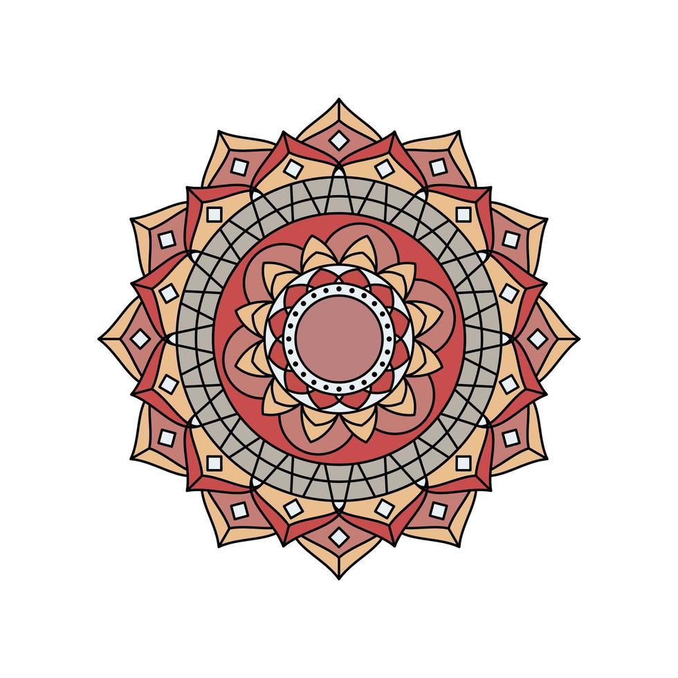 mandala de couleur rétro brun beige vecteur