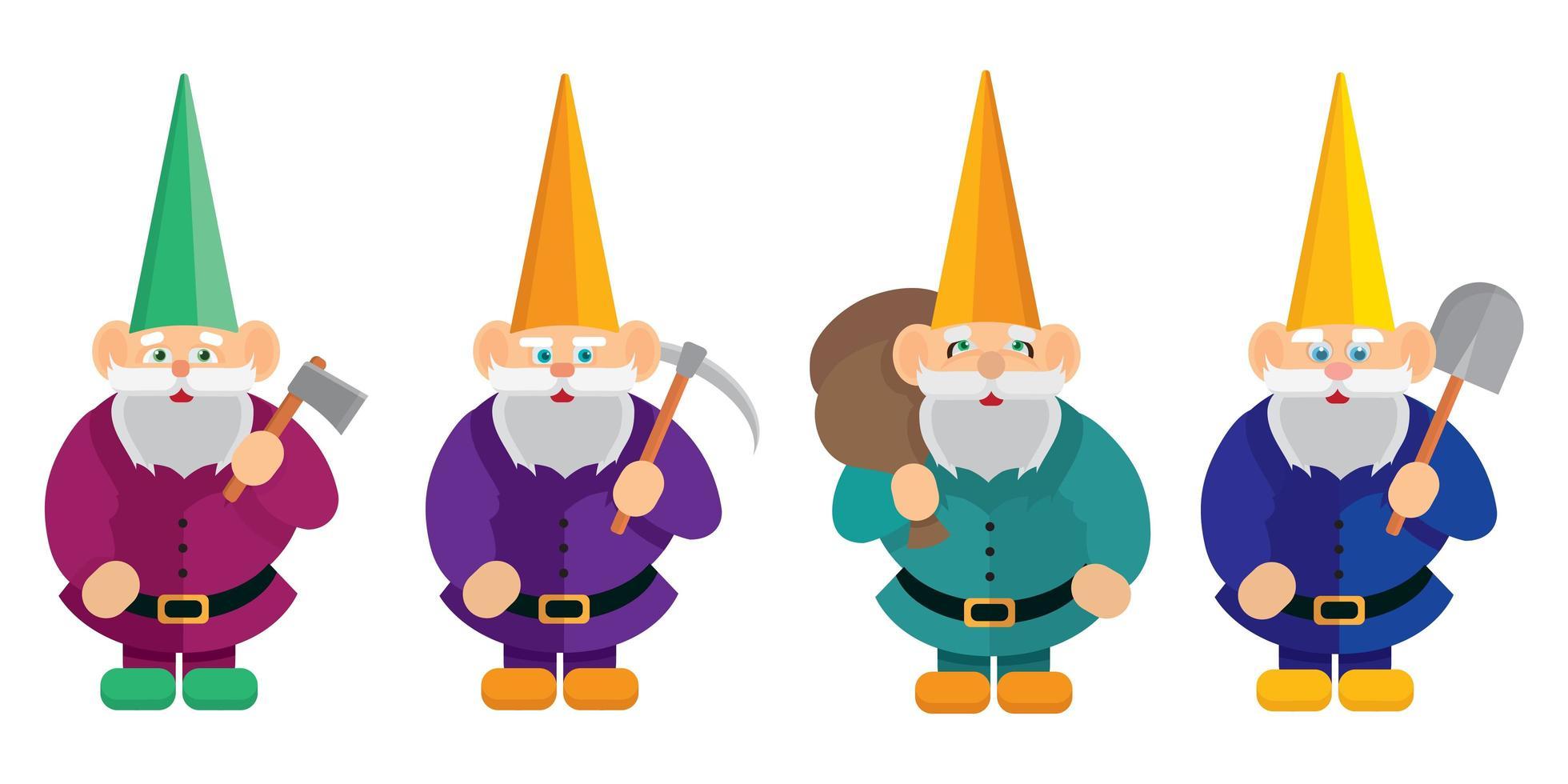ensemble de gnomes avec différents objets. vecteur