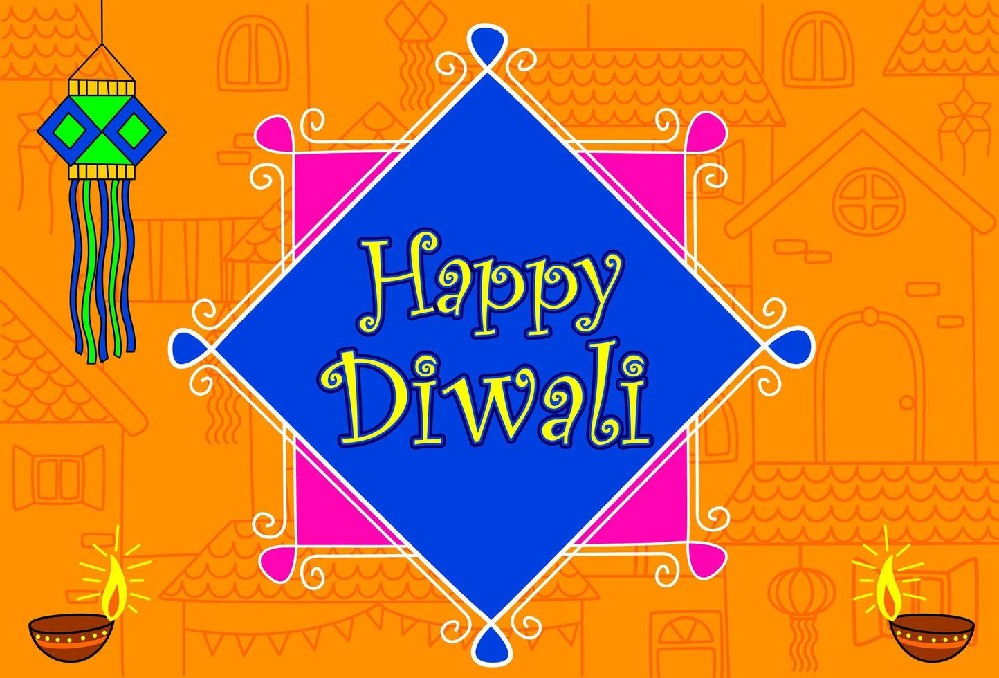 papier peint festival de diwali indien vecteur