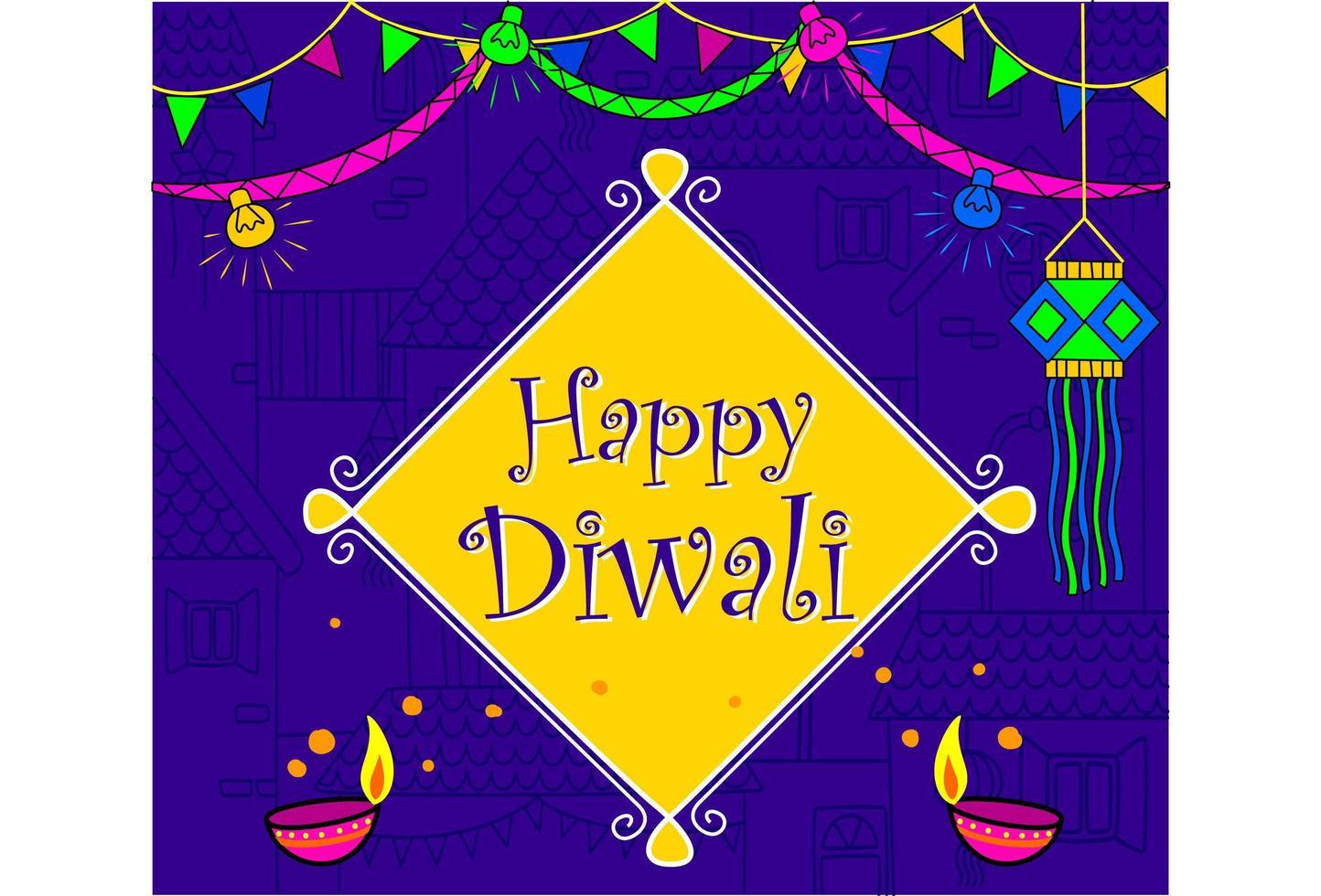 papier peint festival indien diwali en couleur néon vecteur