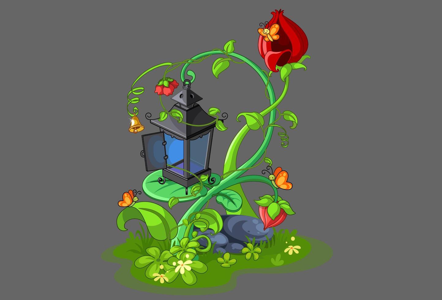 lanterne de fée avec des fleurs vecteur