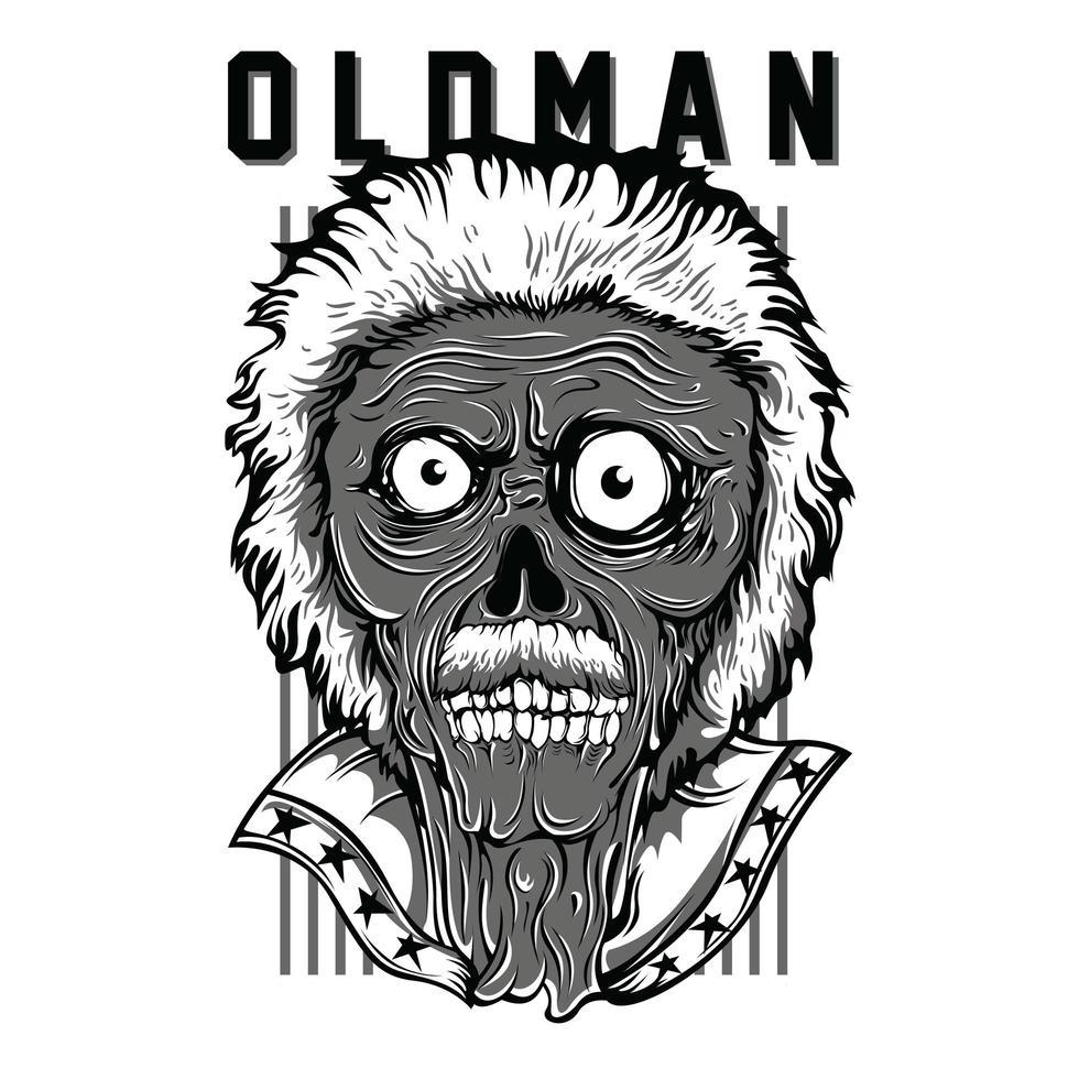 oldman patriot t-shirt design noir et blanc vecteur