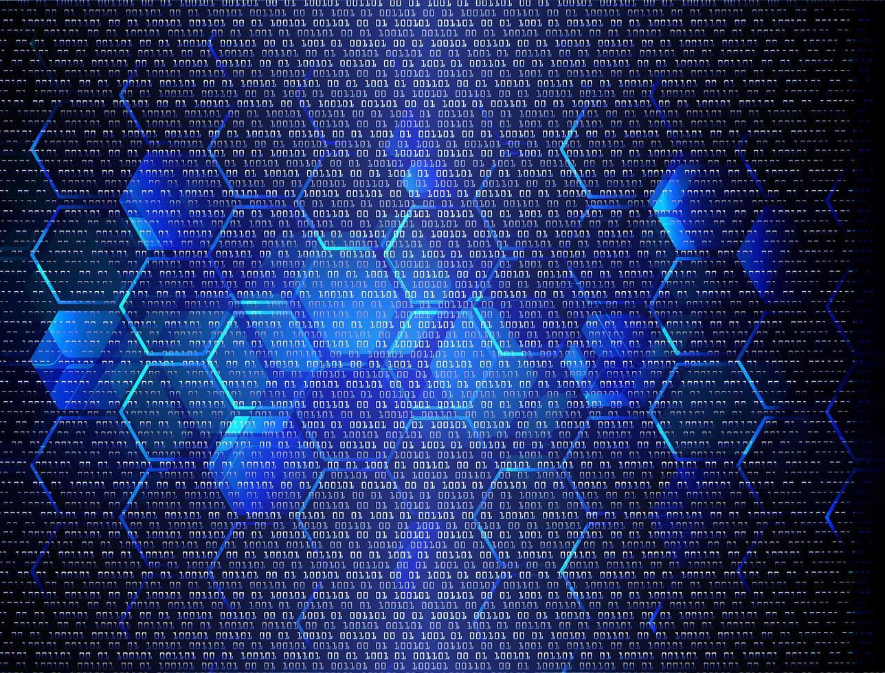 fond de technologie future cyber circuit hexagone bleu vecteur