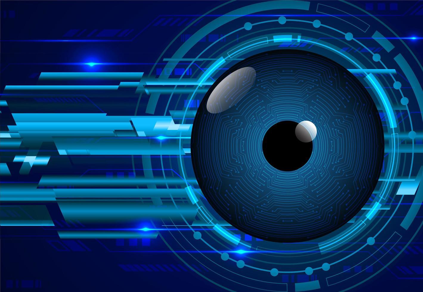 fond de concept de technologie cyber circuit oeil bleu vecteur