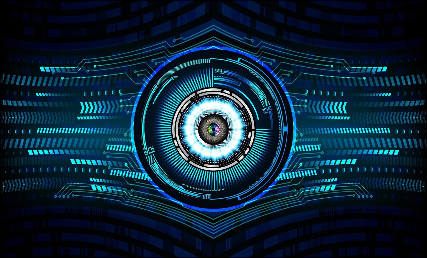 concept technologique futur du circuit cyber œil bleu vecteur