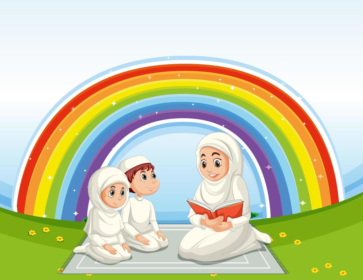 famille musulmane arabe en costume traditionnel vecteur
