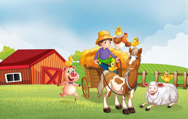 scène de ferme dans la nature avec grange et cheval vecteur