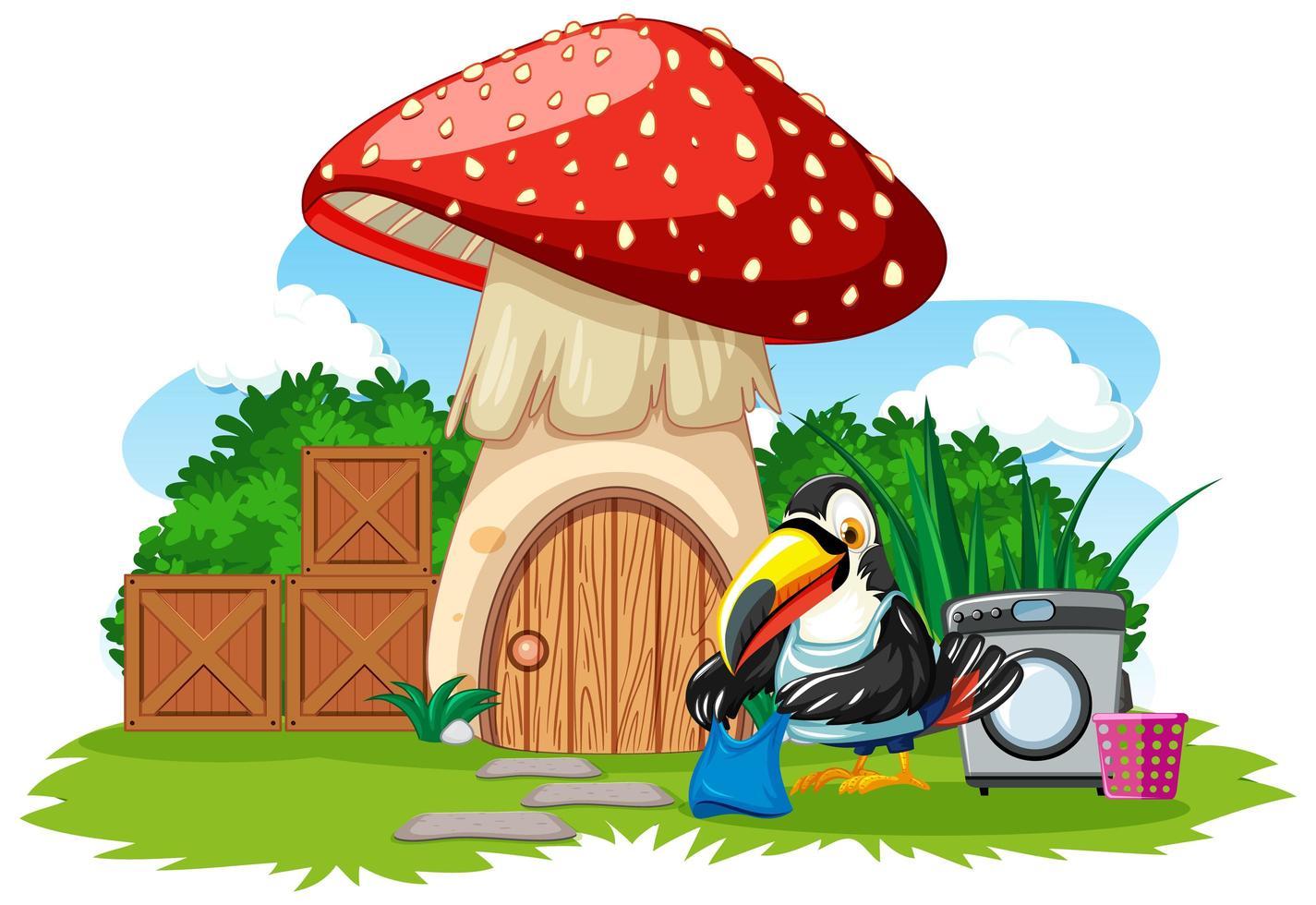 champignonnière avec oiseau mignon vecteur