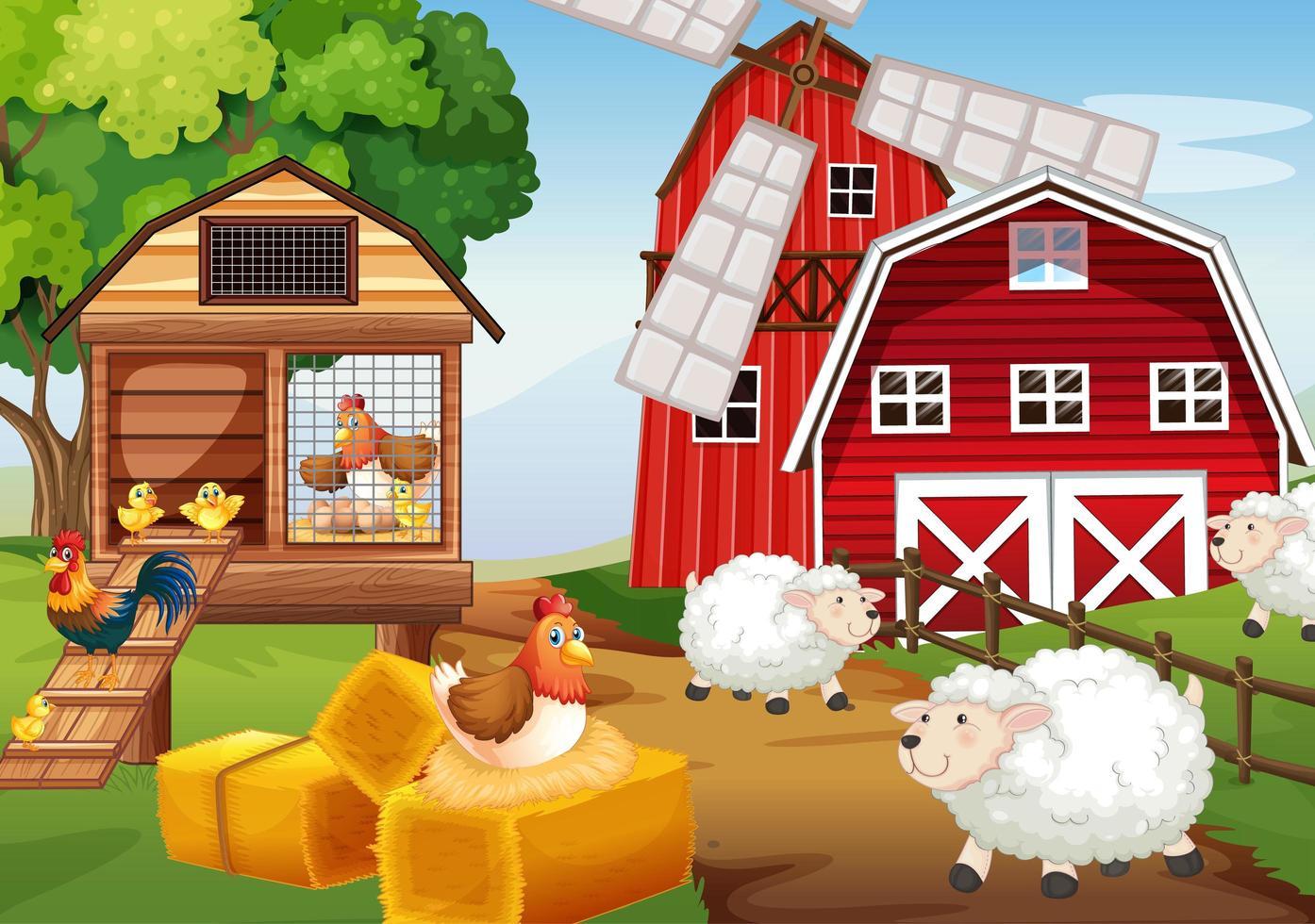 scène de ferme dans la nature avec grange et moulin à vent vecteur